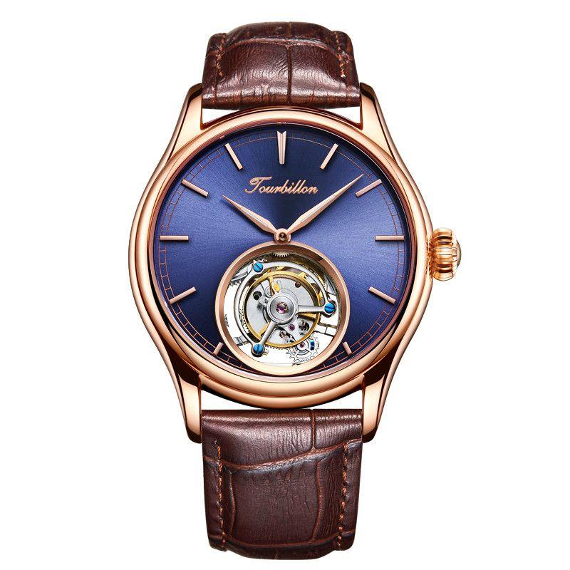 Angepasst High End Business Tourbillon Mechanische Männer Handgelenk Uhren Blaues Zifferblatt Mechanische Hand Wind Leder Herren Armbanduhr