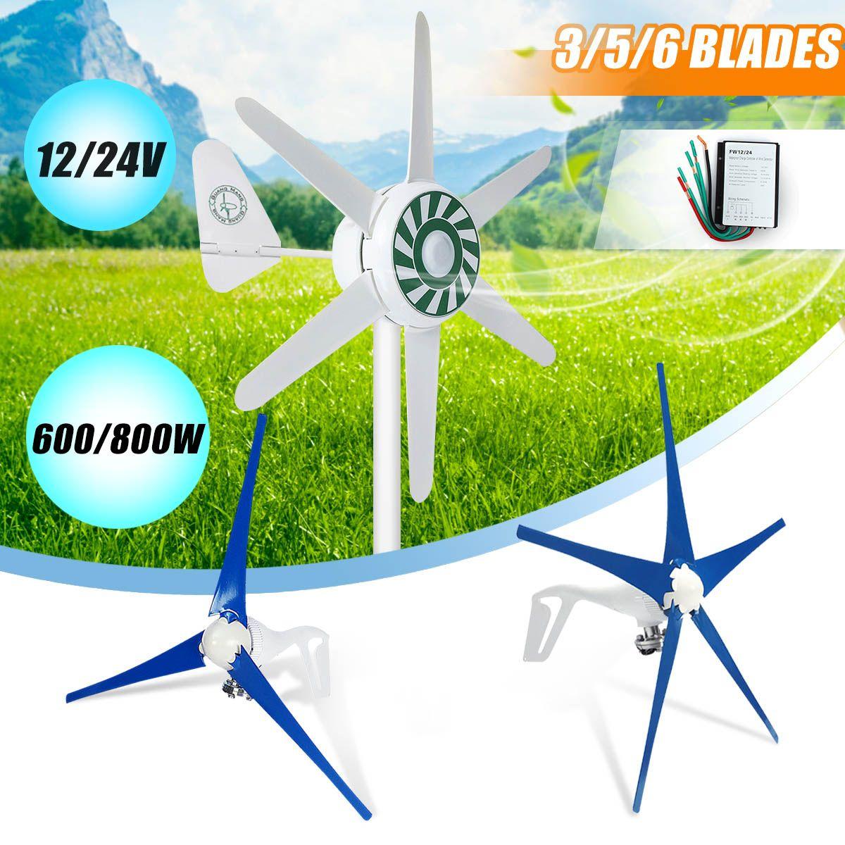 600/800 W 12/24 V 3/5/6 Nylon Faser Klinge Horizontale Hause Wind für turbine Wind Generator Power Windmühle Energie für Turbine Ladung