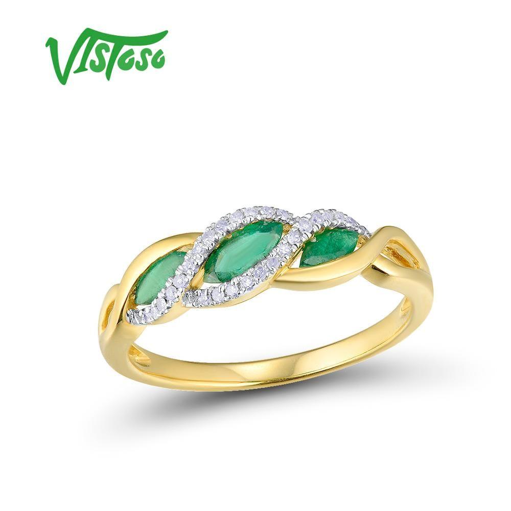 VISTOSO Gold Ringe Für Frauen Echte 14K 585 Gelb Gold Ring Funkelnden Diamant Magie Smaragd Engagement Ringe Edlen Schmuck