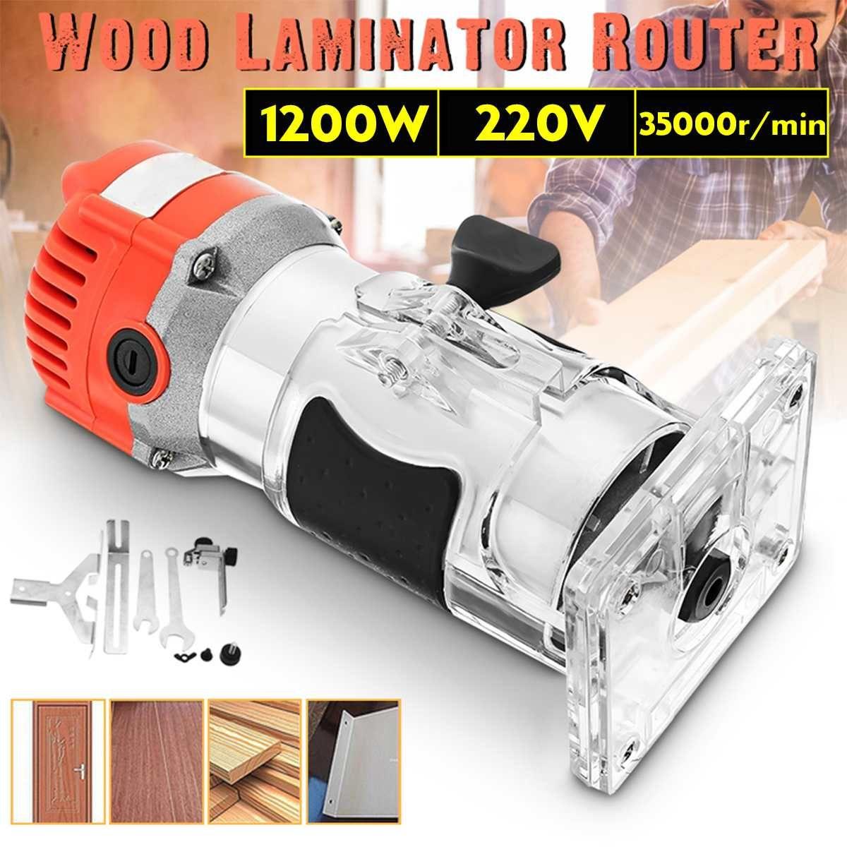Elektrische Holz Trimmer Laminator 1200 W 220 V 35000r/min Router Pvc-h-streifen Schreiner Werkzeug Set Aluminium + Kunststoff 6,35mm collet Durchmesser Wasserdicht