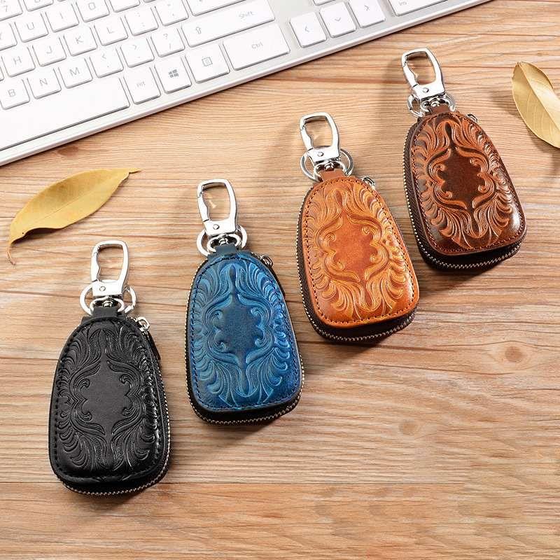 Osmond femme clé portefeuille hommes femmes en cuir véritable voiture porte-clés femme de ménage pour hommes rétro multifonctionnel maison porte-clés Case