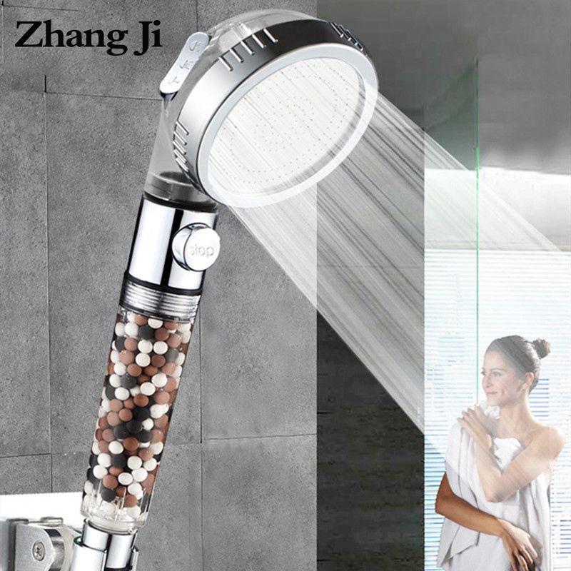 ZhangJi nouvelle arrivée 3-fonction SPA pomme de douche interrupteur d'arrêt salle de bains réglable économie d'eau Spray ABS Anion filtre pommes de douche