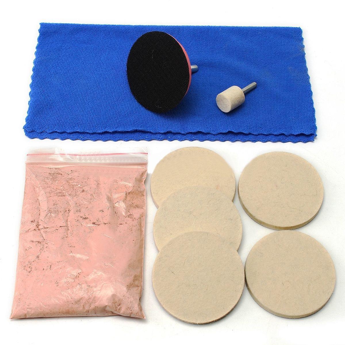 Kit de polissage de verre d'oxyde de cérium OSSIEAO 100g anti-rayures pour pare-brise + tampon 3 + feutre