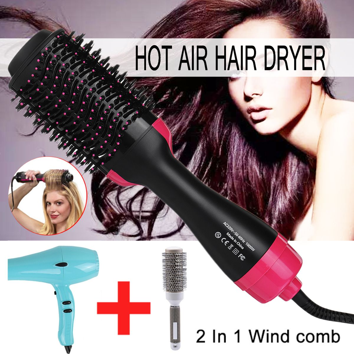 2 in 1 Multifunctional Hair Dryer & Volumizer Rotating Hair Brush Roller Rotate Styler Comb Styling Straightening Curling Iron
