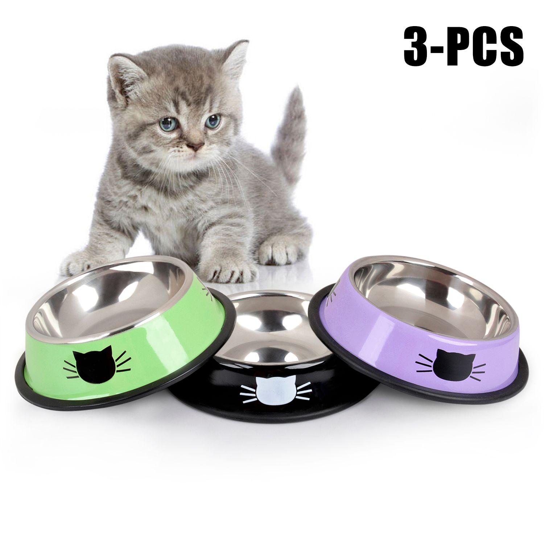 Nouveau produit pour animaux de compagnie pour chien chat bol en acier inoxydable anti-dérapant pour animaux de compagnie chien chat nourriture eau bol Pet alimentation bols outil fournitures pour animaux de compagnie