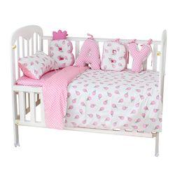 Bayi Set Tempat Tidur Katun Lembut Bernapas Crib Kit Termasuk Duvet Cover Sarung Bantal Bed Sheet Tidak Ada Pengisi Custom Made Huruf Bumper