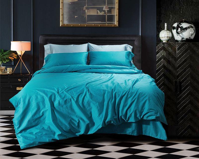 TUTUBIRD-Luxury Solid Color Egyptian Cotton Bedding Set Duvet Cover Sheet Pillowcase King Queen Size White Gray Blue Bed Linen