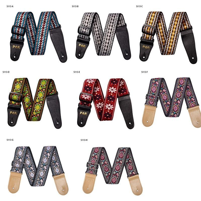 New 8 Colors Vintage Flowers Stripes Acoustic Electric Guitar Strap Woven Embroidery Fabrics Leather Ends Strap