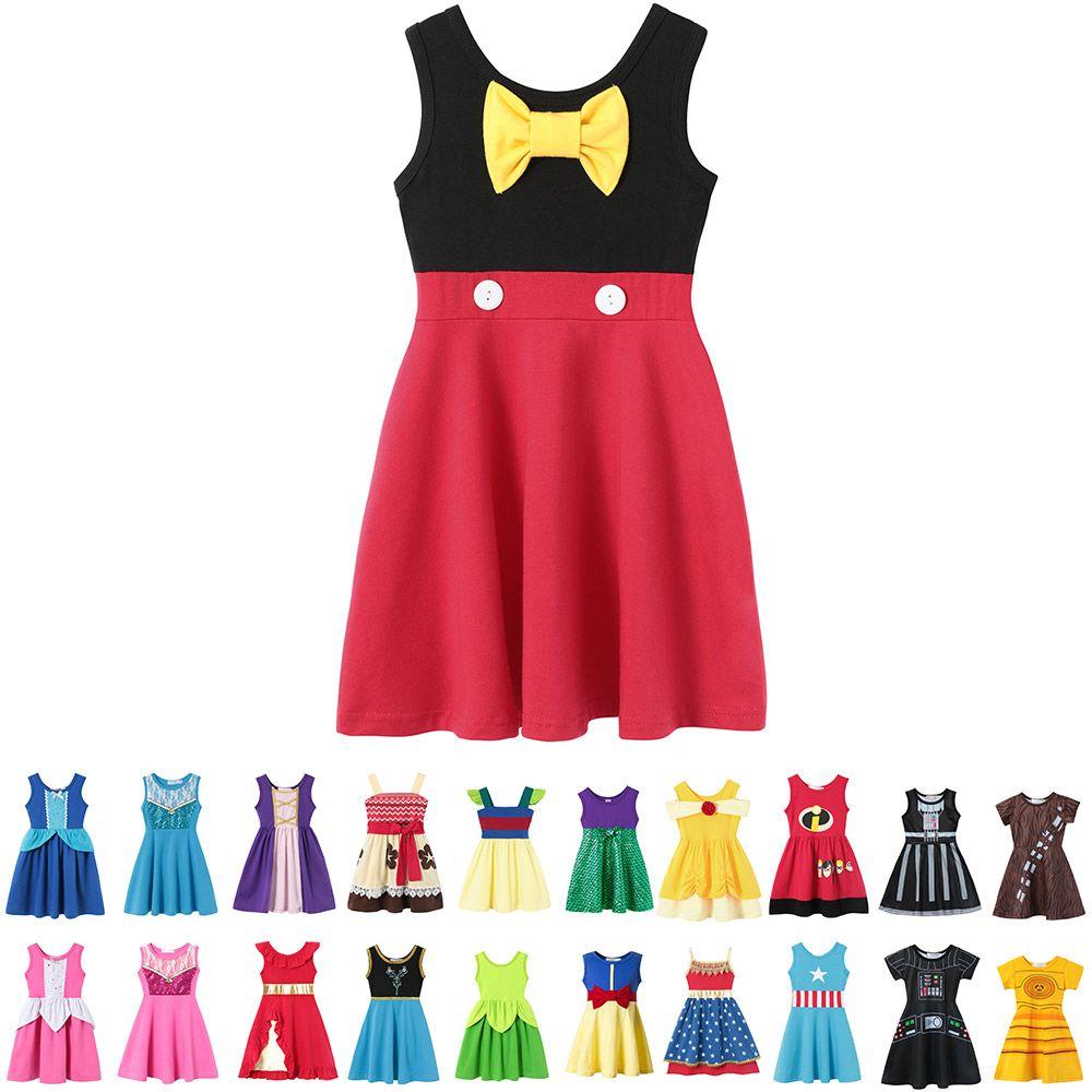 Baby Girls Summer Casual Clothing Minnie Mulan Wonder Woman Snow White Rapunzel Tinker Bell Jasmine Elena Princess Party Dresses