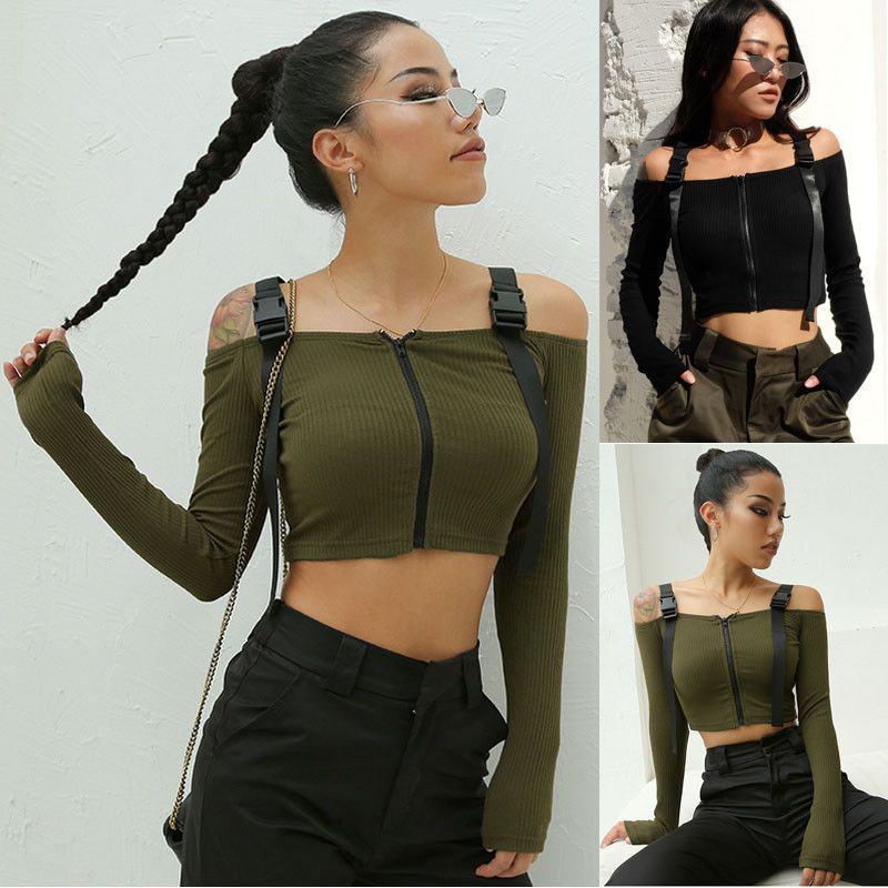 Mode Femmes Sexy Cool Off Épaule Court Réservoirs Camisoles Crop Tops Moulante Armée Vert Noir Filles Réservoirs Camisoles