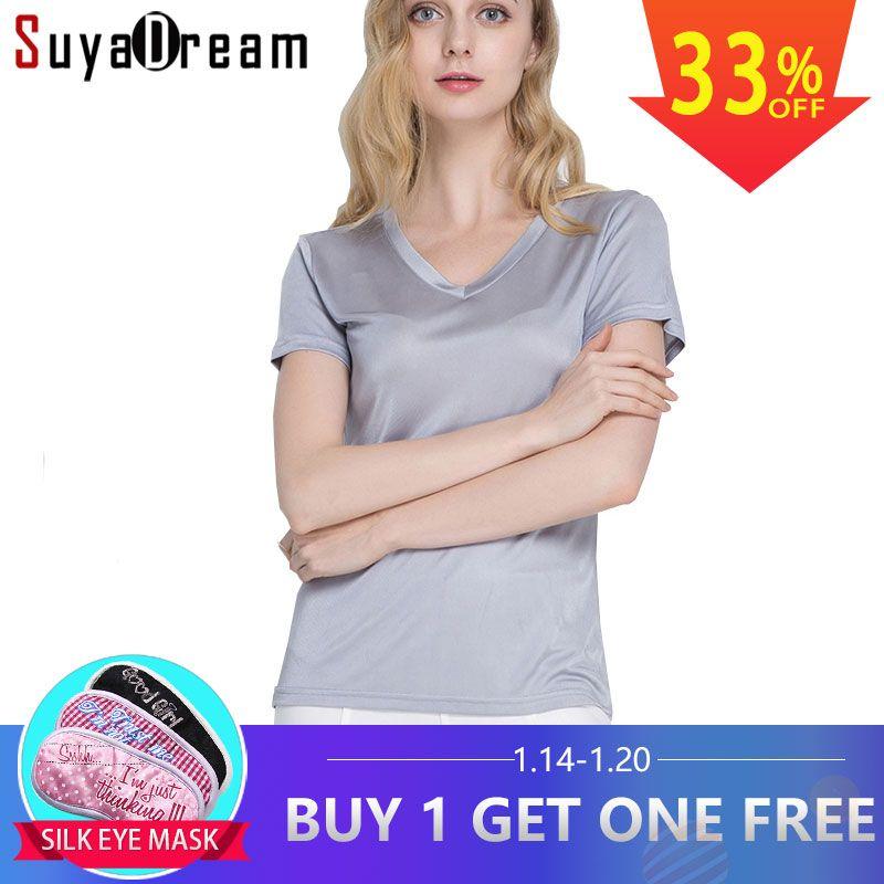 Soie femmes T shirt 100% soie Naturelle de base chemise À manches Courtes solide V neck top 2018 nouveau blanc noir Creux chemise