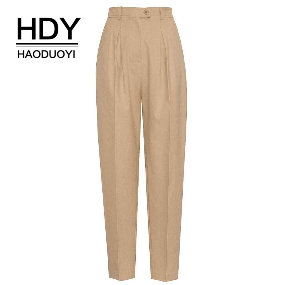 HDY HAODUOYI New Women Overalls Style Trousers Handsome High-Waist Classic Female Pants Streetwear Office Lady loose trousers