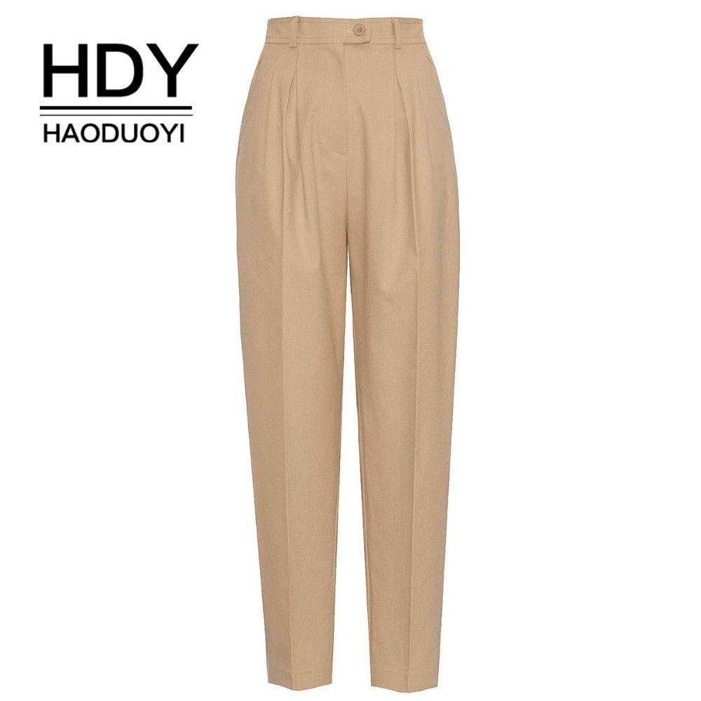 HDY HAODUOYI nouvelles femmes salopette Style pantalon beau taille haute classique femme pantalon Streetwear bureau dame lâche pantalon