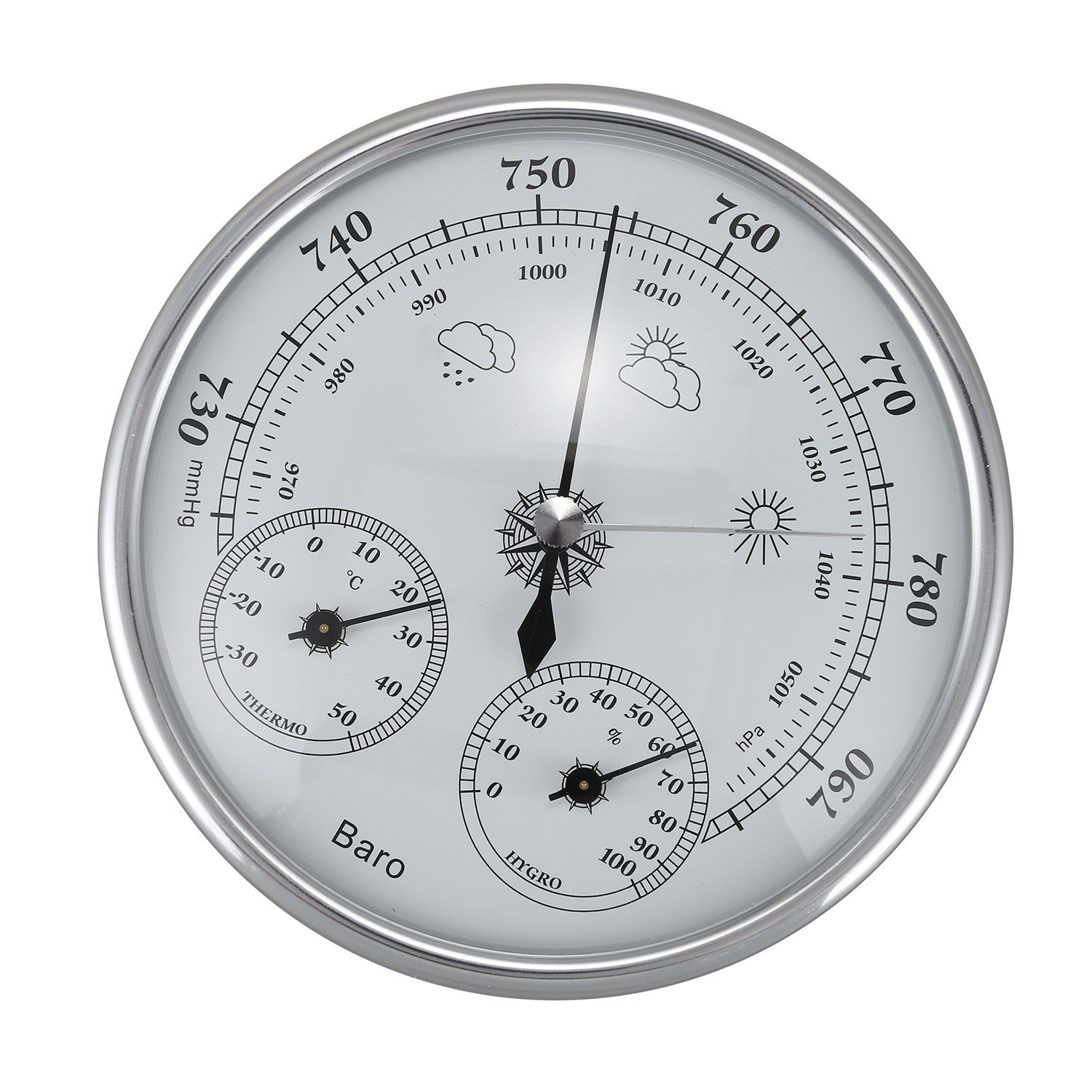 HLZS-Wall Mounted Household Thermometer Hygrometer High Accuracy Pressure Gauge Air Weather Instrument Barometer