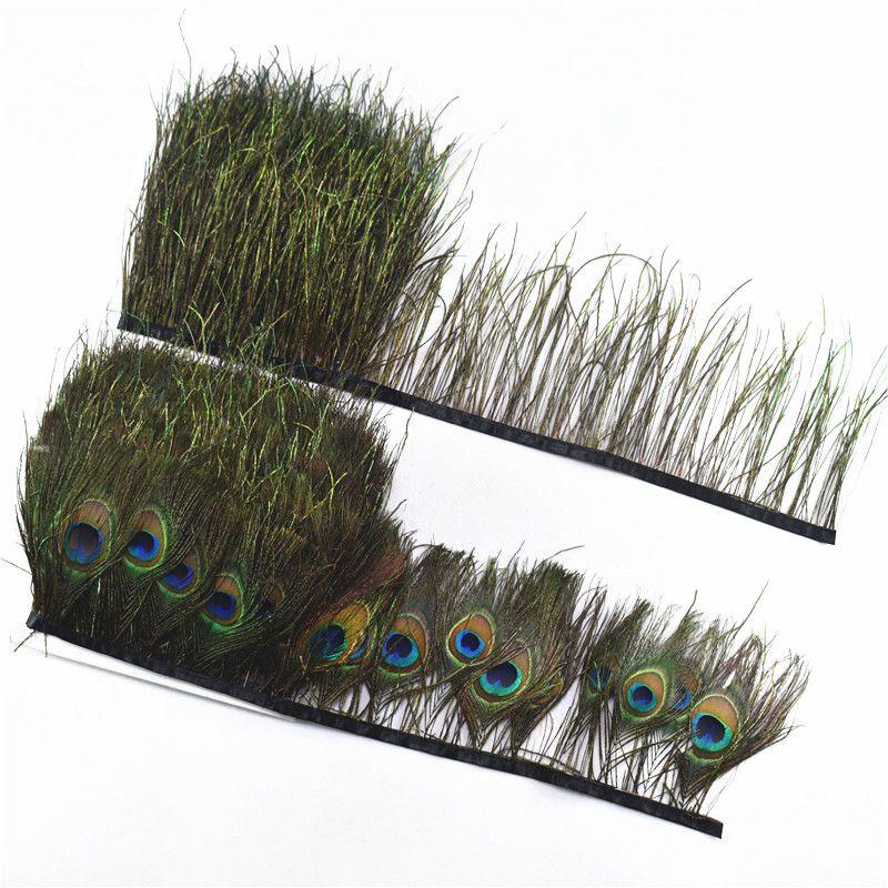 Großhandel Pfau Federn Trimmt 5-10yards 10-15 cm diy pfau auge kostüme Halskette ohrringe zubehör DIY Dekoration plumes