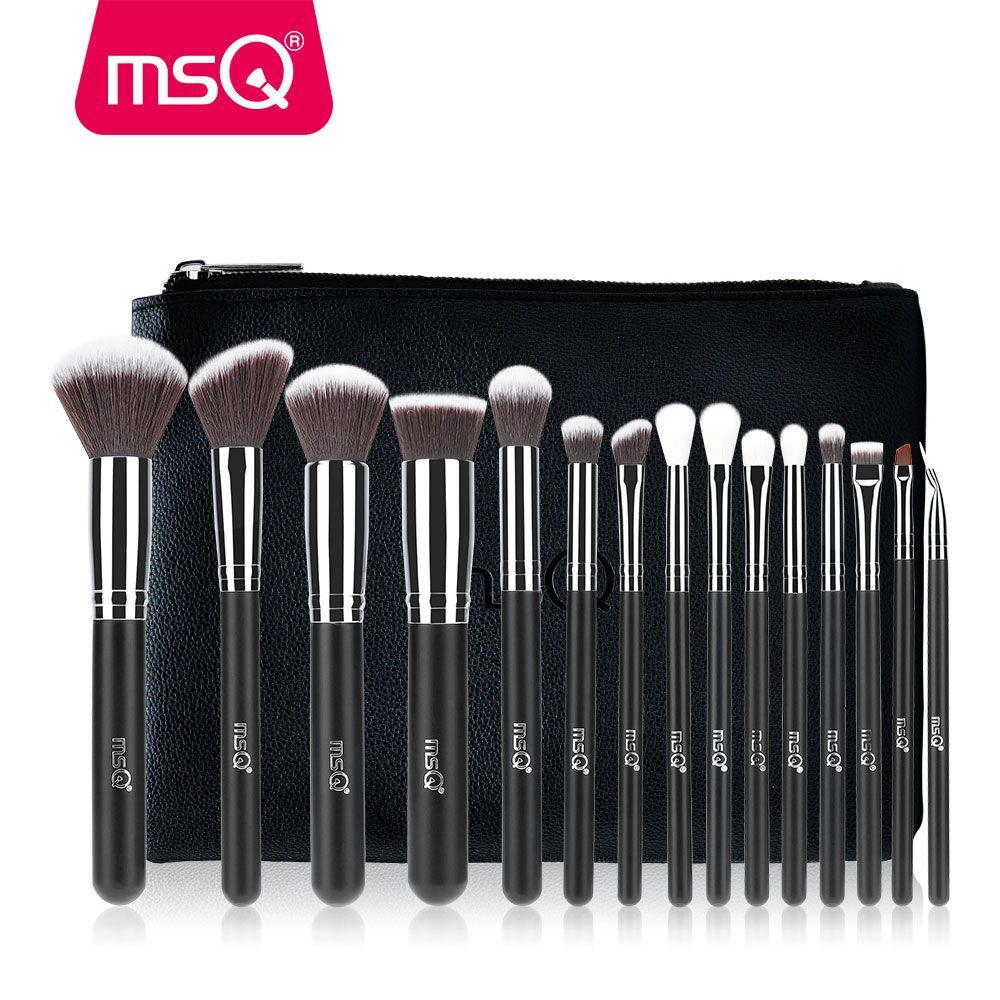 MSQ 15 pièces Pinceaux De Maquillage Pro Ensemble Fondation Yeux Fard À Joues Maquillage Kit de Brosses à Cheveux Synthétiques De Haute Qualité Avec Étui En Cuir PU