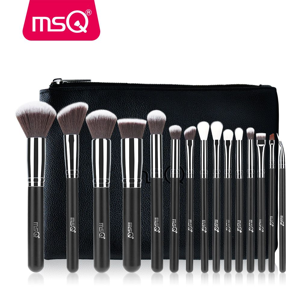 MSQ 15 pièces Pro Maquillage Brosses Set Eye Foundation Fard À Joues Make Up kits de pinceaux qualité supérieure Synthétique Cheveux Avec PU Étui En Cuir