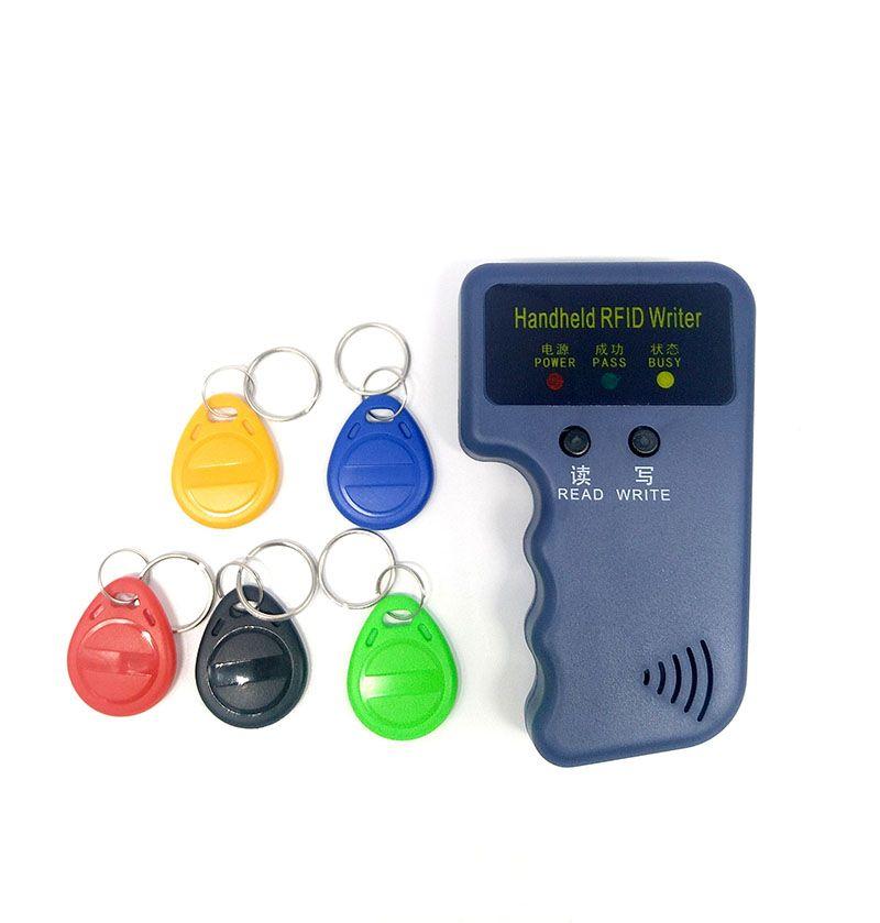 Lecteur de carte RFID 125 Khz portable copieur graveur duplicateur programmeur carte d'identité copie + 5 pièces EM4305 chaque étiquettes inscriptibles
