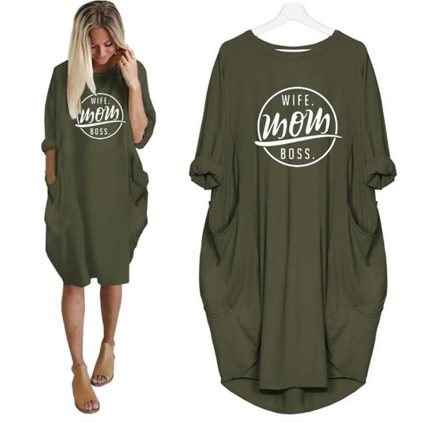 2019 mode T-Shirt pour femmes poche femme maman patron lettres imprimer T-Shirt grande taille hauts graphique t-shirts femmes hors de l'épaule