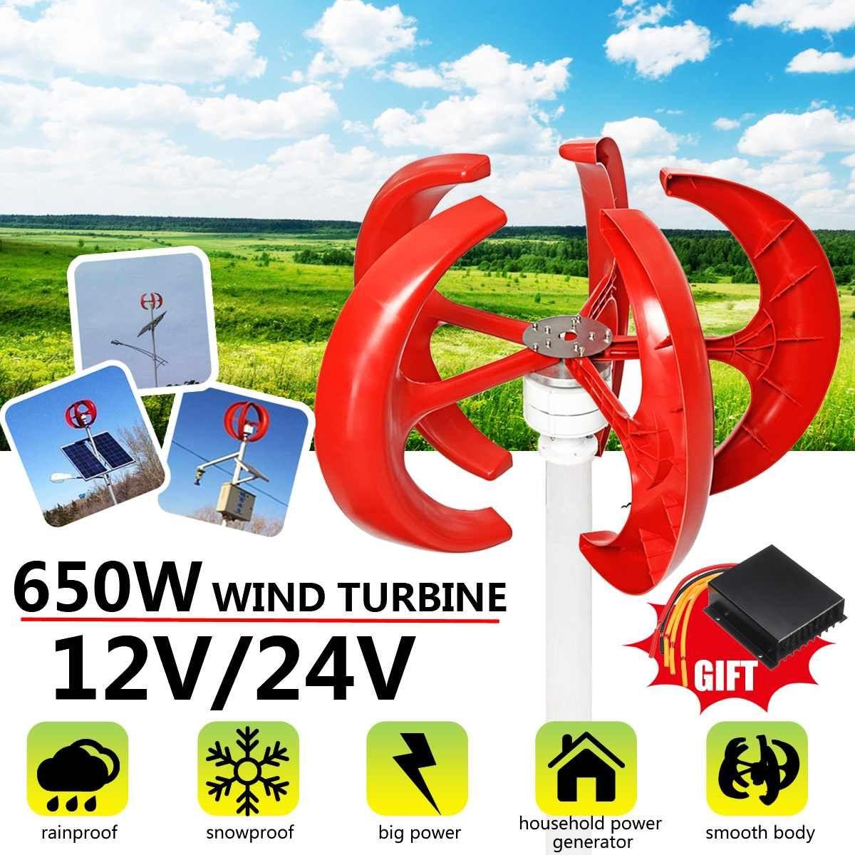 650 W AC Wind Turbinen Generator Laterne 5 Klingen 12 V 24 V Motor Kit Vertikale Achse Elektromagnetische Für Hause hybrid Straßenbeleuchtung Verwenden