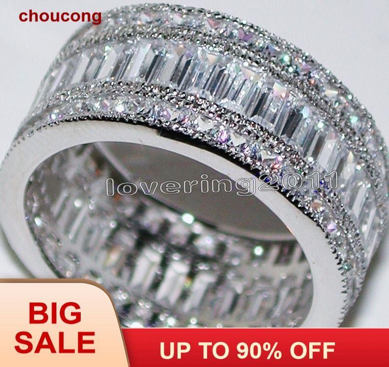 Choucong Volle Prinzessin cut Stein 5A Zirkon stein 10KT Weiß Gold Gefüllt, Verlobung, Hochzeit Band Ring Set Sz 5- 11 geschenk