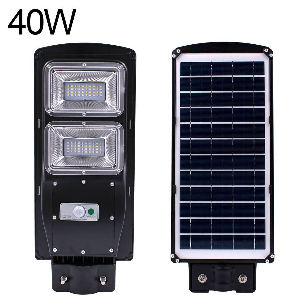 Waterproof Outdoor Wall Street Light 40W Solar Powered Radar Motion+Light/Remote Control for Garden Yard Street Flood Lamp