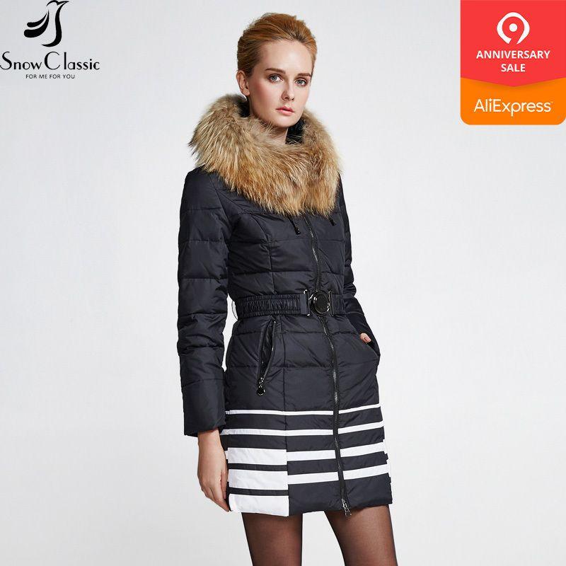 Snowclassic femmes veste d'hiver 2018 réel col de fourrure de raton laveur dames veste d'hiver doudoune dames coupe-vent mode chaud