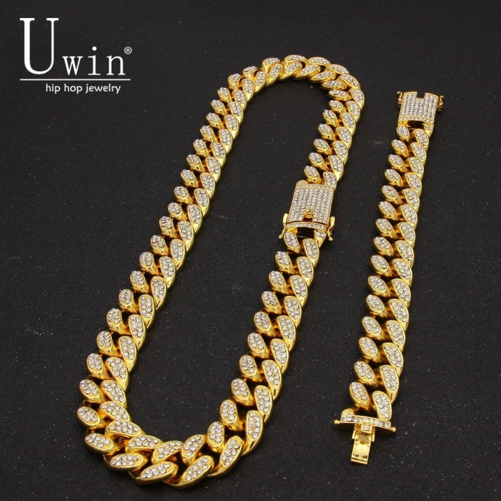UWIN 2cm Miami Cuban Chain Necklace & Bracelet Set Iced Out Crystal Rhinestone Gold Silver Hip Hop Jewelry For Gift