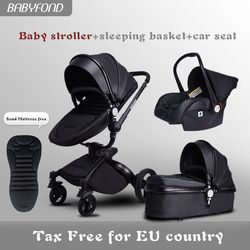 Fast ship!luxurious 3 in 1 baby stroller aluminium alloy baby pram leather two-way shock baby trolley Aliexpress Direct