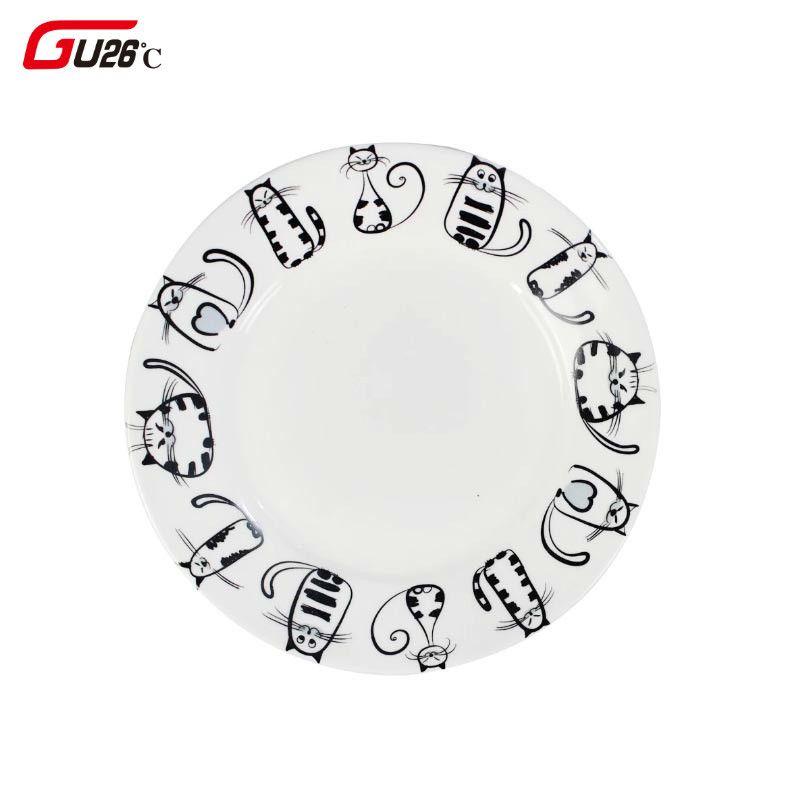 Europe du nord 6/7/8 pouces céramique dessin animé Kitty plaque Snack vaisselle céramique Service plaque de style occidental alimentaire céramica disque