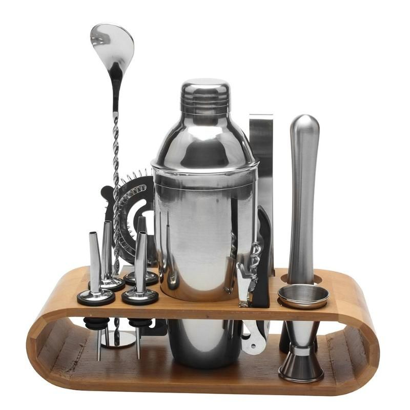 12pcs/set Stainless Steel Liquor Red Wine Cocktail Shaker Bar Wine Mixer Set Bartender Cocktail Hand Shaker Tool Kit with Holder