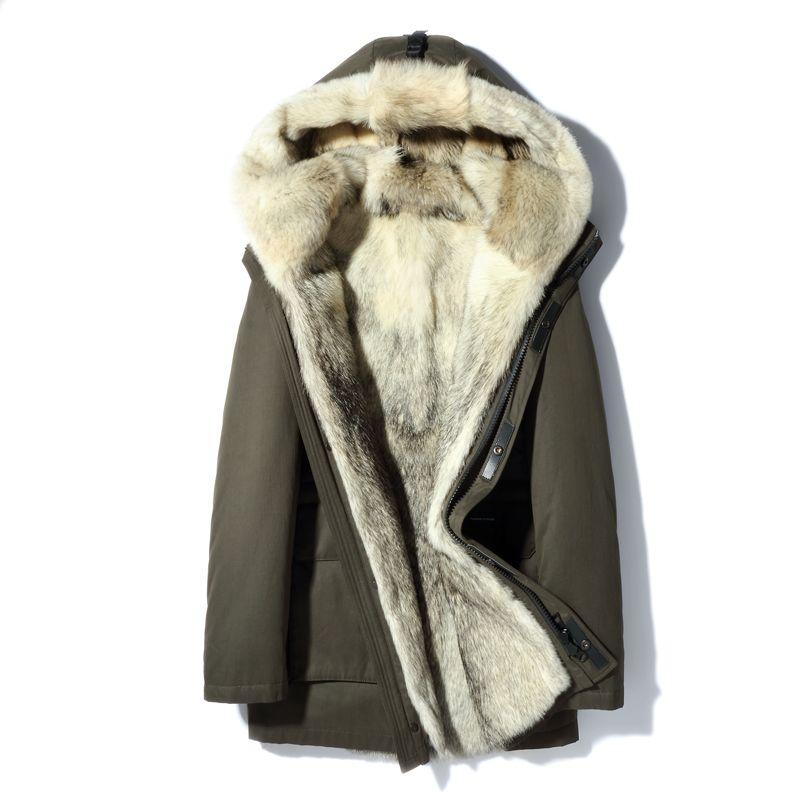 Echt Wolf Fell Kapuze Parka Medium Lange 2018 Neue Winter Warme Mantel Dicken Echtpelz Parkas Männer Natürliche Pelz Jacke