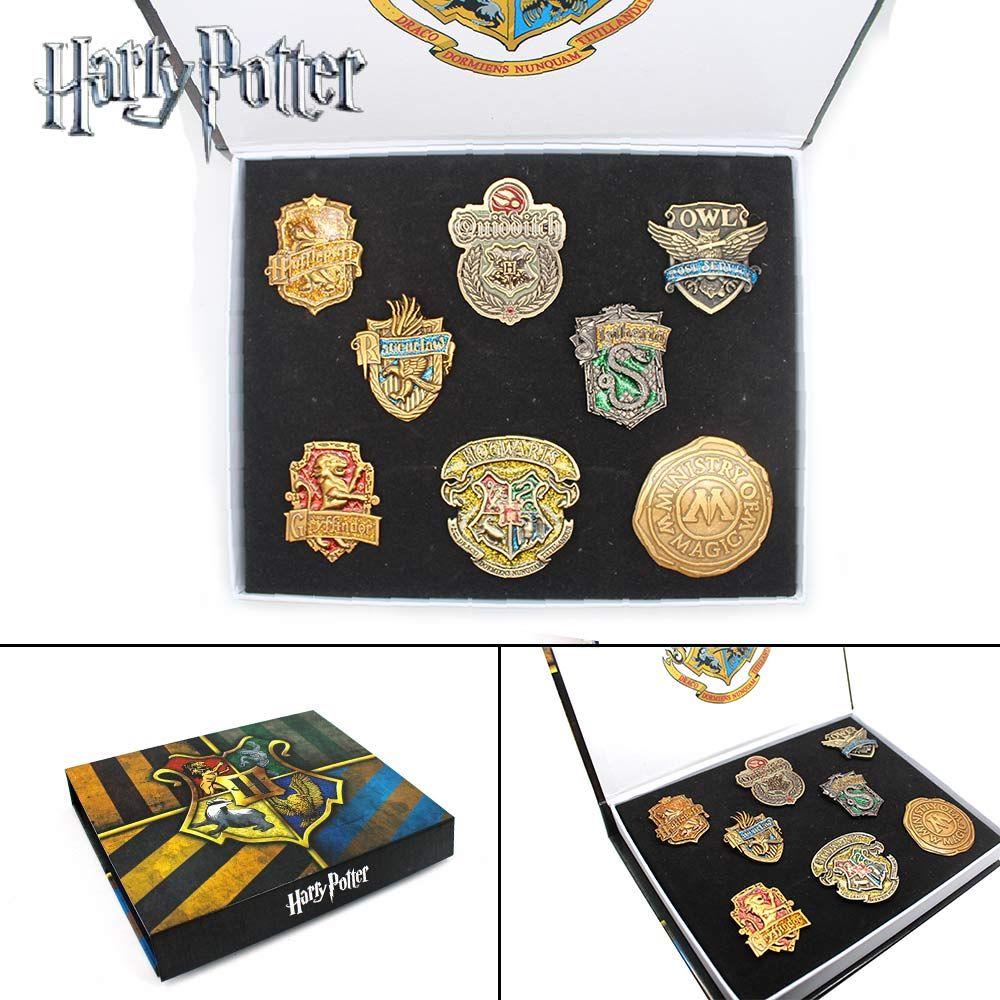 Wellcomics EIN Set Harri Potter Heiligtümer des todes Hogwarts Gryffindor Slytherin Ravenclaw Hufflepuff Metall Abzeichen Brosche Pin Geschenk Box