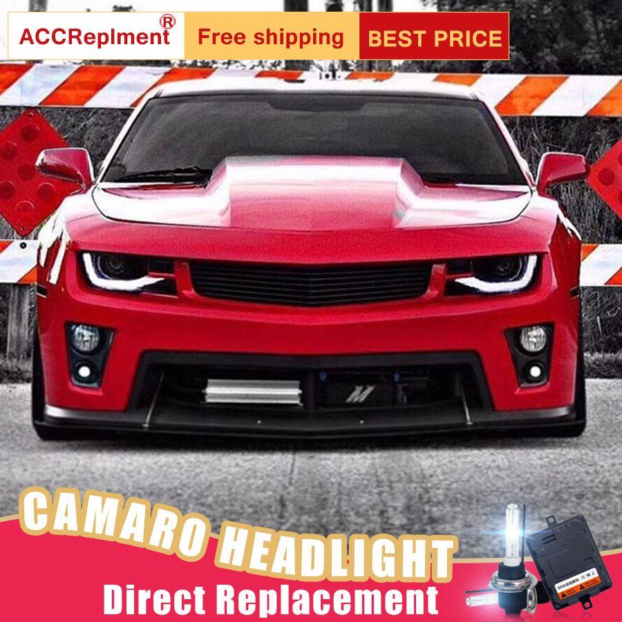 2 Pcs LED Scheinwerfer Für Chevrolet Camaro 2014-2015 led auto lichter Engel augen xenon HID KIT Nebel lichter LED Tagfahrlicht