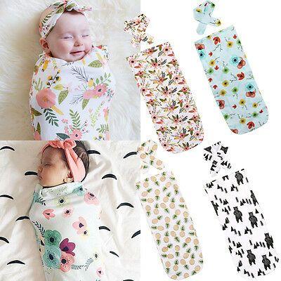 Emmababy 2Pcs/Set ! Newborn Fashion Baby Swaddle Blanket Baby Sleeping Swaddle Muslin Wrap Headband
