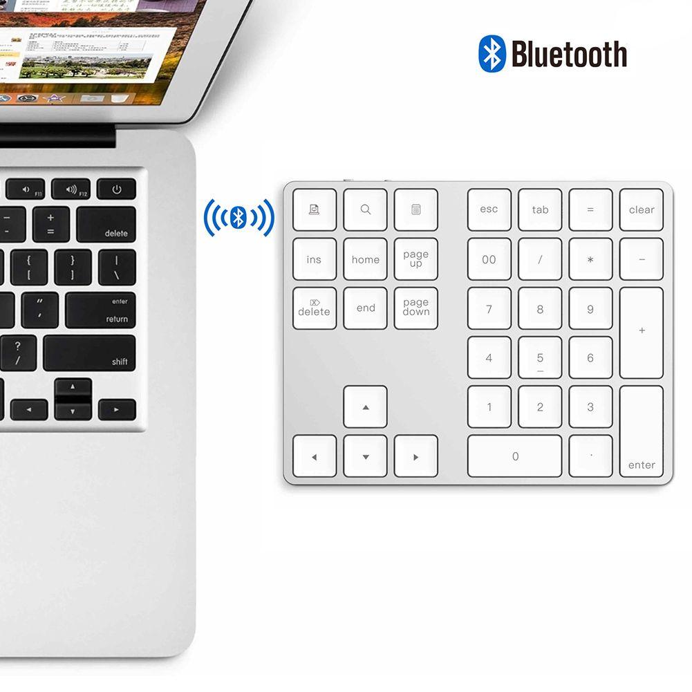 34 touches sans fil Bluetooth Mini clavier numérique pour Apple Android pour MacBook pc de bureau ordinateur portable en alliage d'aluminium numérique ~