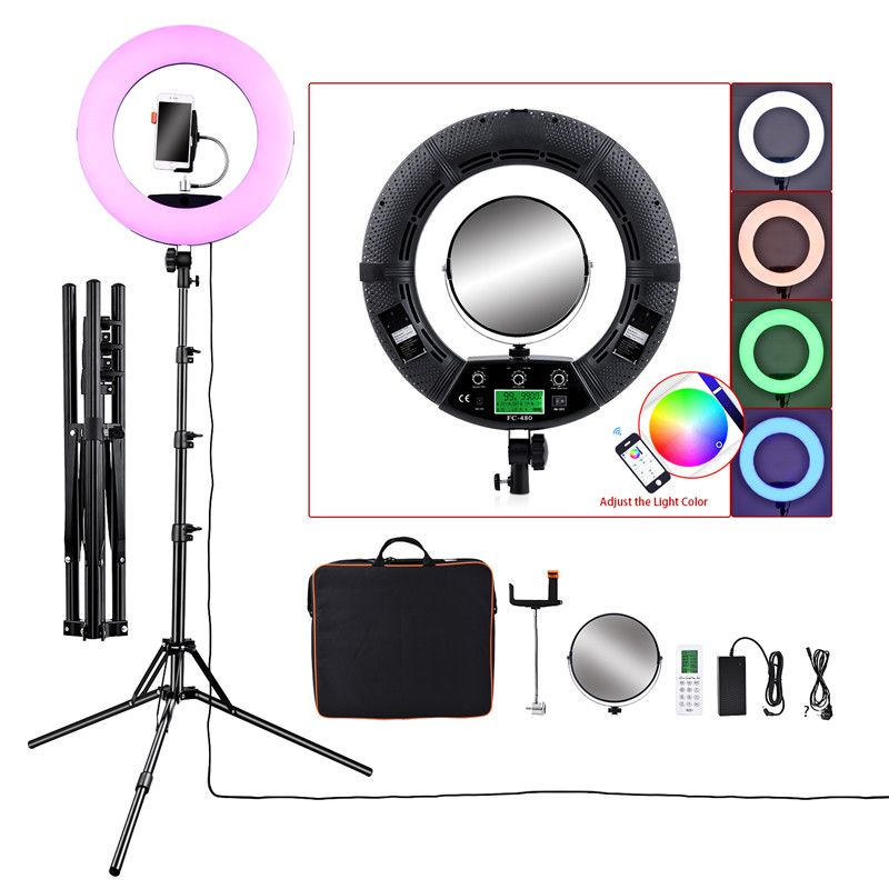 Fosoto FC-480 Bunte 480 LED Fotografische Beleuchtung Dimmbare 2800-10000k 96W Kamera telefon Ring licht lampe & stativ spiegel