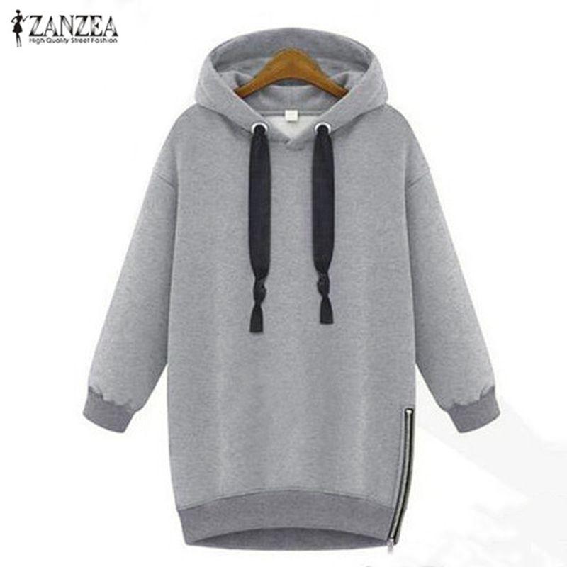 2019 automne hiver Zanzea sweat à capuche pour femme à manches longues à capuche lâche décontracté chaud sweat surdimensionné grande taille Sweatshirts
