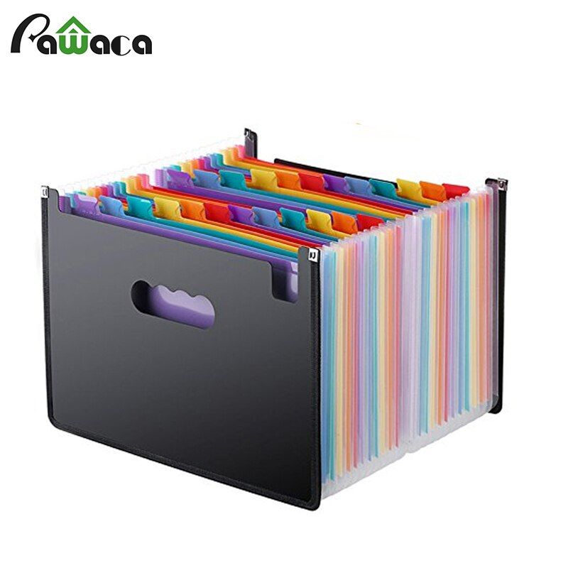 24 Pockets Expanding File Folder A4 Organizer Portable Rainbow Organ Business File Document Holder Storage Bag Office Supplies