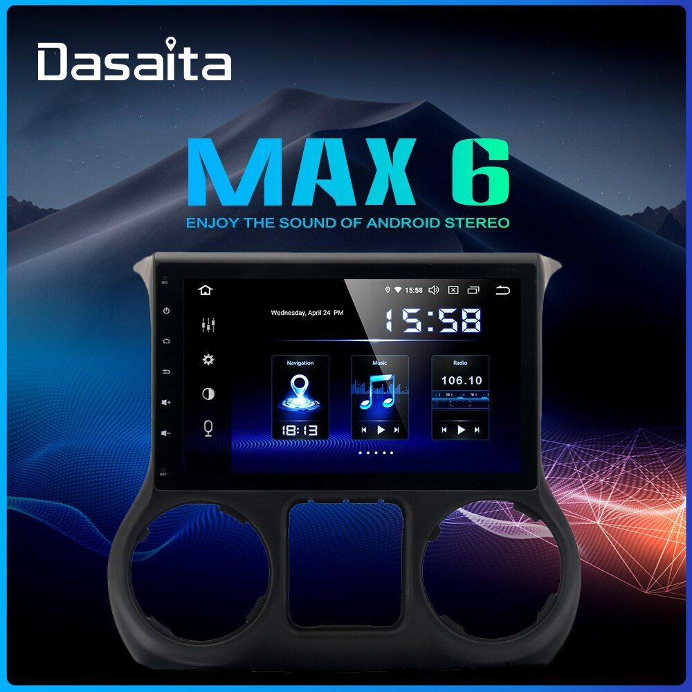 Dasaita 10,2 IPS Bildschirm 1Din Auto Android 9.0 DSP für Jeep Wrangler Radio 2011-2016 HDMI Bluetooth 1080P video 64G ROM MAX6