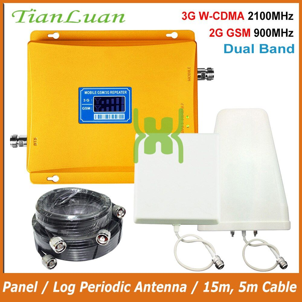 TianLuan LCD Display 3G W-CDMA 2100MHz + 2G GSM 900Mhz Dual Band Mobile Phone Signal Booster GSM 900 2100 UMTS Signal Repeater
