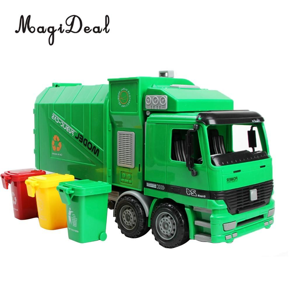 1:22 Scale Die Cast Pull Back Sanitation Garbage Truck Model Kids Children Baby Vehicles Toy Birthday Gift Large Size