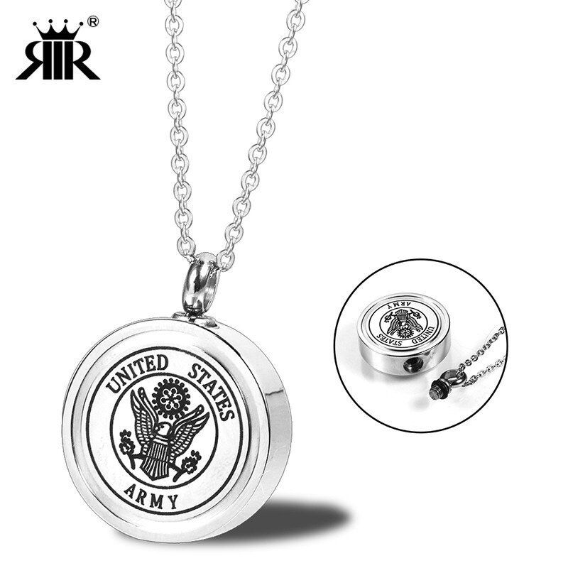 RIR Silver Cremation Urn Jewelry for Ashes Human Pendant Necklace Keepsake USMC ARMY NAVY AIR FORCE Soldier Charm Necklaces