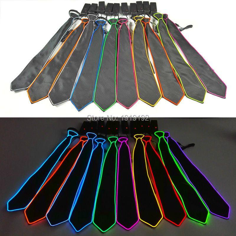 1 pc NOUVEAU Design Lumière 10 Couleur EL Cravate Lumière Up LED Cravate lumineux Pour la Décoration de Partie, bar, club cosplay Spectacle Par 3 v Stable sur Pilote