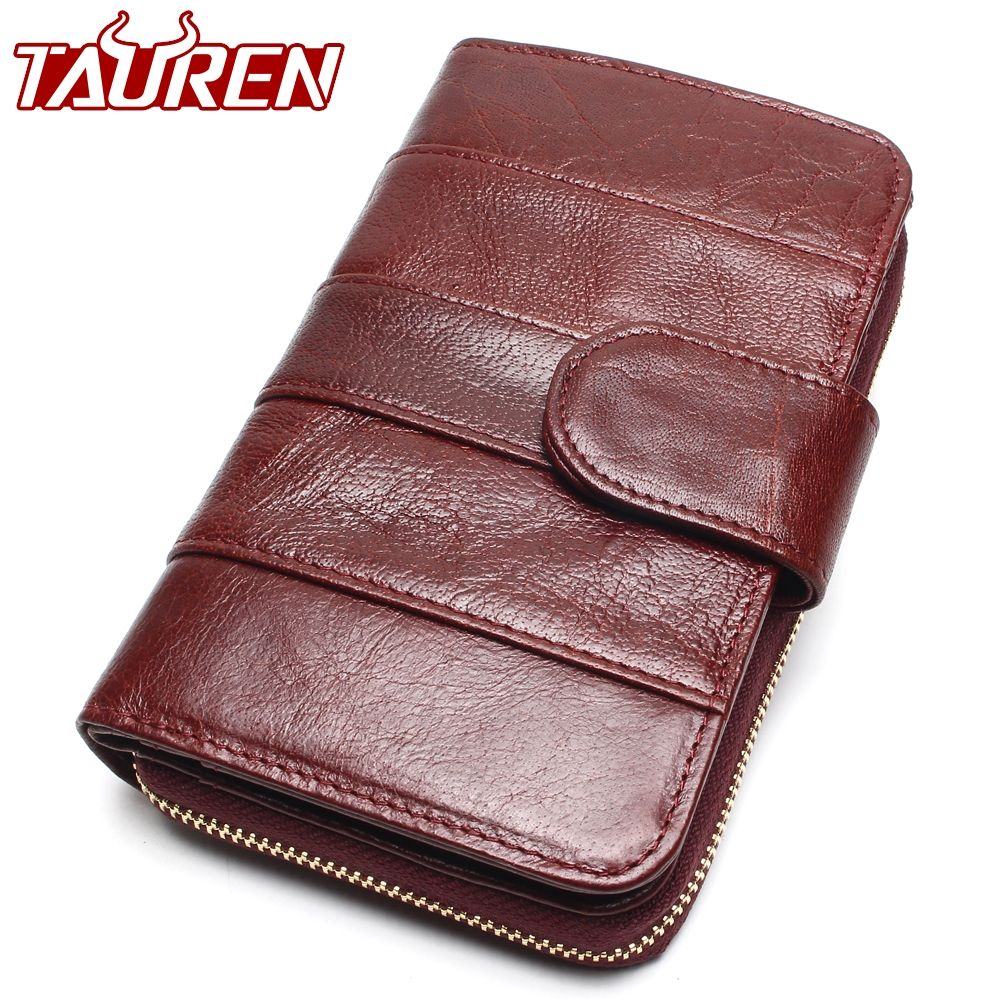 2019 New Style <font><b>Layer</b></font> Of Import Oil Wax Cowhide Medium Paragraph Buckle Leather Wallet Women's High Quality Purse