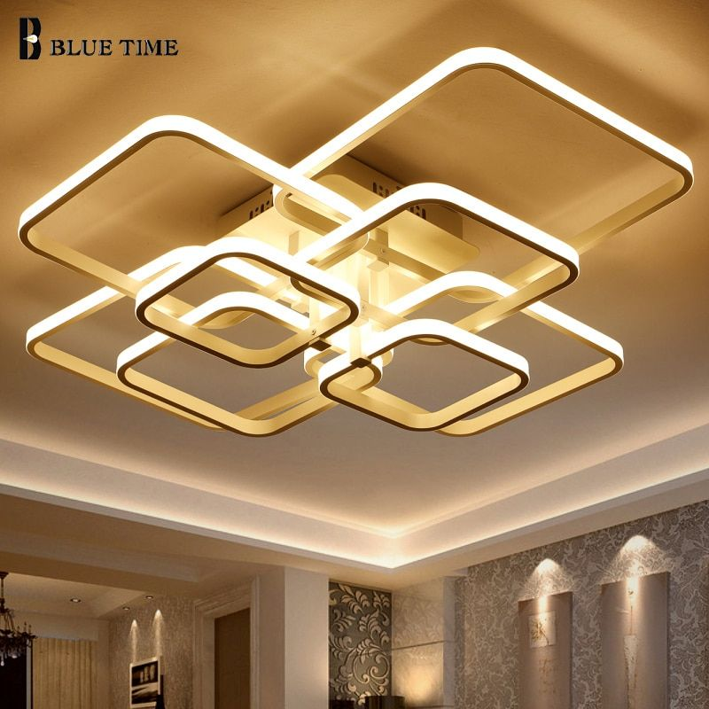New Acrylic Square 8/6/4 Rings Chandelier For Living Room Bedroom Home AC85-265V Modern Led Ceiling Chandelier Lamp Fixtures