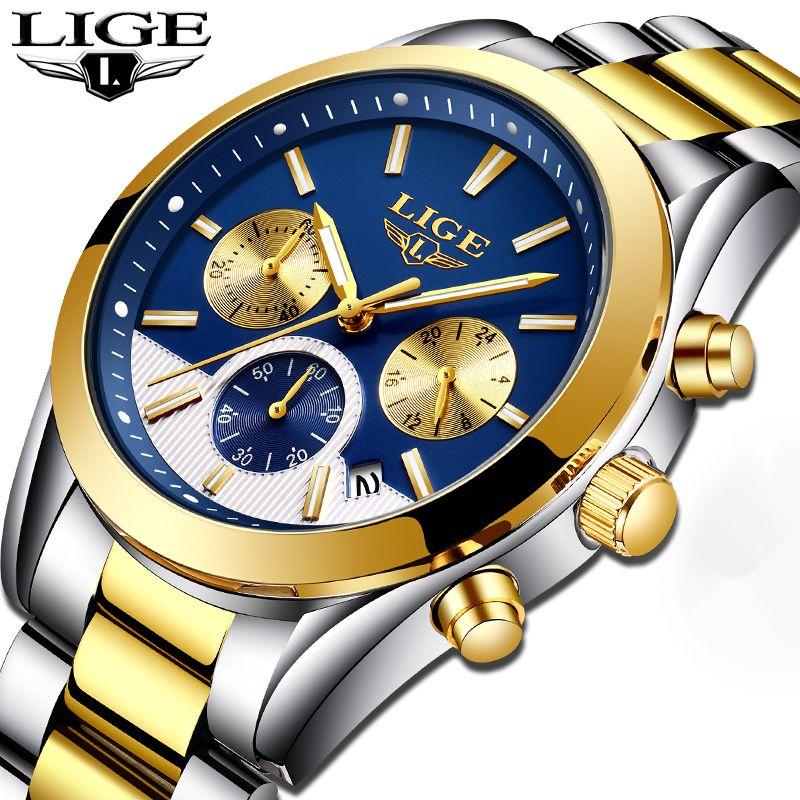 Mens Watches Top Brand Luxury LIGE Men's Fashion Business Quartz Watch Men Waterproof Full steel Sport Watch Relogio Masculino