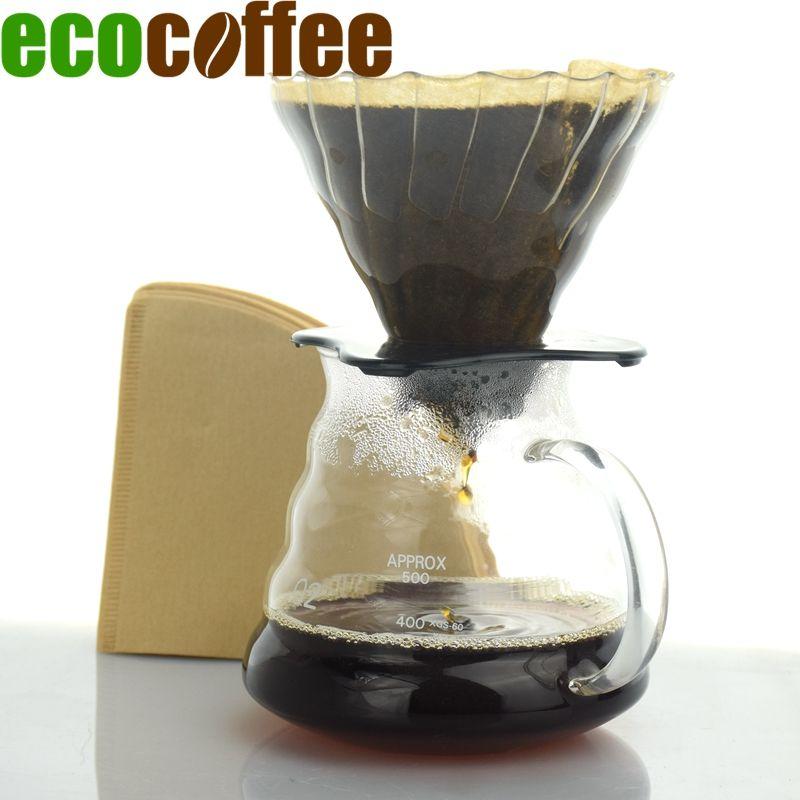 Eco café nouveauté café valeur paquet en céramique café goutteur V60 + 580 ML serveur + 102 filtres