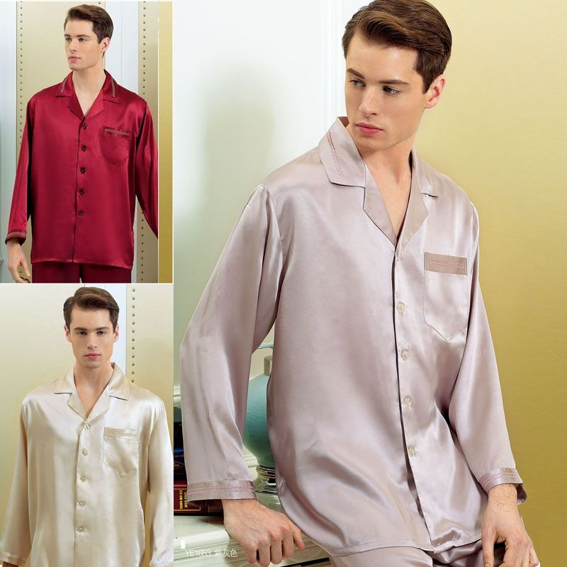 Marke Männlichen Seide Pyjama Set 16 Momme Männer Langarm 2-teilige Pyjamas JPS Männer 100% Seide Nachtwäsche männer Bequeme Homewear Sets