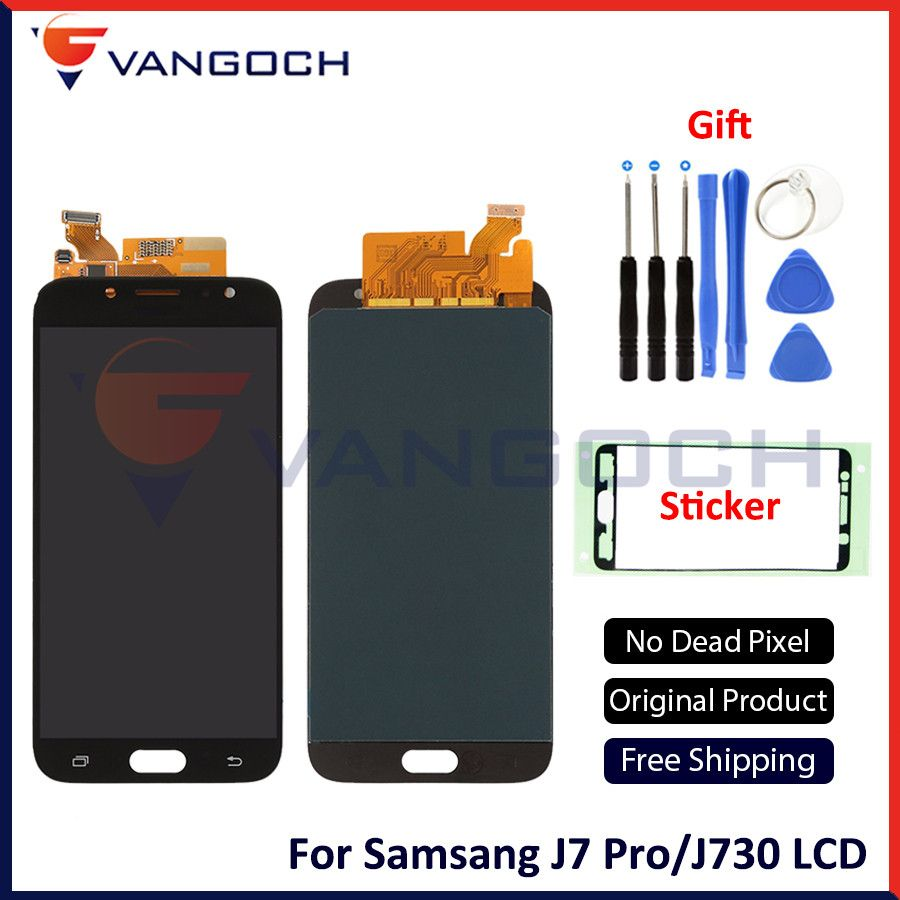A++ Original AMOLED For Samsung Galaxy J7 Pro J730 J730F 2017 Full Display LCD Screen TouchScreen Digitizer Assembly Replacement